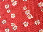 RED DAISY - Fabric- 100% COTTON - Price Per Metre